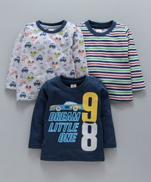 Mini Donuts Full Sleeves Tee Striped & Car Print Pack of 3 - Navy