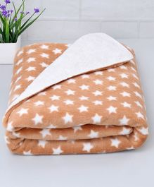 Zoe Poly Wool Blanket Stars Print - Brown