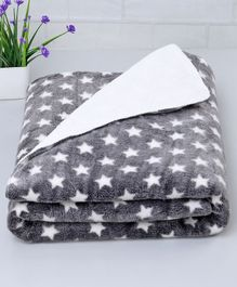 Zoe Poly Wool Blanket Stars Print - Grey