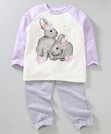 Ventra Full Sleeves Rabbit Printed Night Suit - Purple