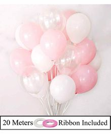Amfin Balloon Bouquet With Ribbons Pink & White - Pack of 52