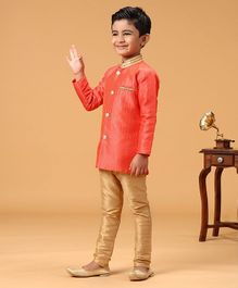 Babyhug Full Sleeves Kurta Pyjama Set - Orange