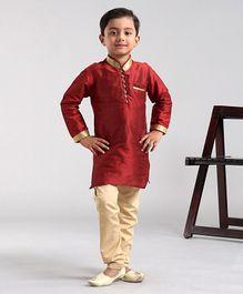 Babyhug Full Sleeves Kurta & Pyjama Set - Maroon