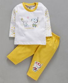 Cucumber Full Sleeves Tee With Lounge Pant Bear Print - Yellow