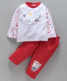 Cucumber Full Sleeves Tee With Lounge Pant Bear Print - Red