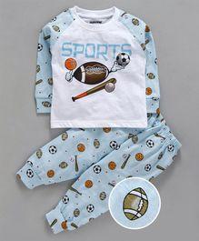 Cucumber Full Sleeves Tee & Lounge Pant Sports Print - Sky Blue