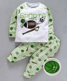 Cucumber Full Sleeves Tee & Lounge Pant Sports Print - Light Green