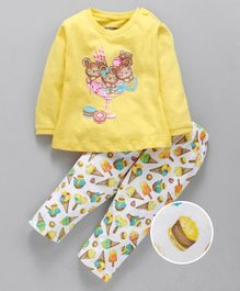Cucumber Full Sleeves Top & Lounge Pant Ice Cream Print - Yellow