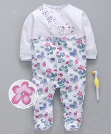 Cucumber Full Sleeves Footed Sinker Romper Butterfly & Floral Print - White