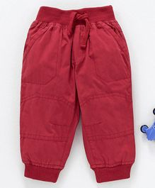 Cucumber Full Length Jogger Pants With Drawstring -Red