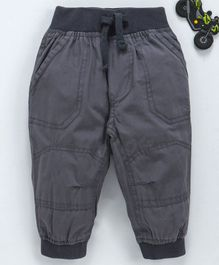 Cucumber Full Length Cotton Jogger Pants With Drawstring - Grey