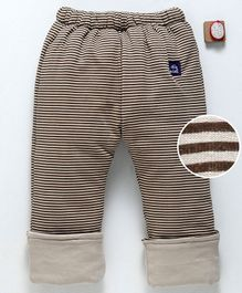 Olio Kids Full Length Turn Up Hem Striped Sinker Lounge Pant - Brown