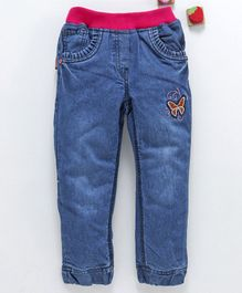 Olio Kids Ribbed Waist Denim Jeans Butterfly Patch - Deep Blue