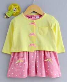 Olio Kids Cap Sleeves Heart Printed Frock With Shrug - Pink Yellow