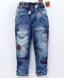 Olio Kids Full Sleeves Printed Denim Jeans - Blue