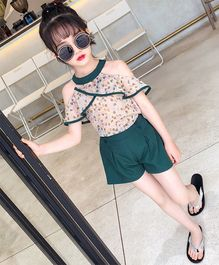 Pre Order - Awabox Leaves Print Short Sleeves Top & Shorts Set - Green