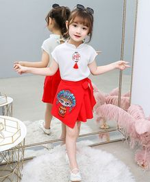 Pre Order - Awabox Cap Sleeves Top With Girl Print Skirt - White & Red
