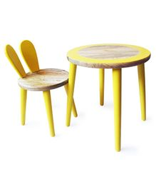 Shumee Bunny Wooden Table and Chair Set -Yellow