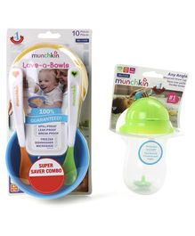 Munchkin Weighted Straw Cup With Love-a-Bowls Combo Pack Orange Green  - 296 m