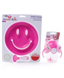 Munchkin Smile & Scoop Suction Plate With Weighted Straw Combo Pack  - Pink