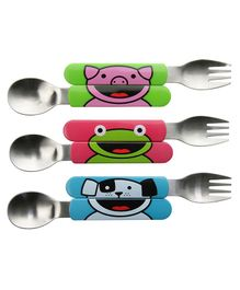 Tum Tum All Day Cutlery Set Cartoon Animal Print - 6 Pieces