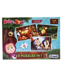 Frank Masha and the Bear 3 in 1 Jigsaw Puzzle Multicolour- 26 Pieces