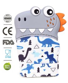 Babyhug  Teether Mitten Glove Dino Print - Grey