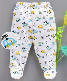 Babyhug Bootie Leggings Car Print - Yellow White