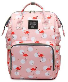 Babymoon Multifunctional Diaper Bag Backpack with Insulated Pockets Flamingo Print - Peach