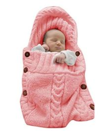 Babymoon Knit Organic Kids Baby Swaddle Wrap Sleeping Bag - Peach