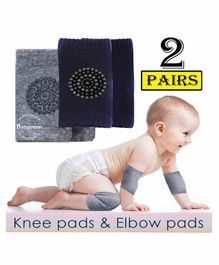 Babymoon Baby AntiSlip Stretchable KneeCap Elbow Safety Protector Set Of 2 - Blue & Grey