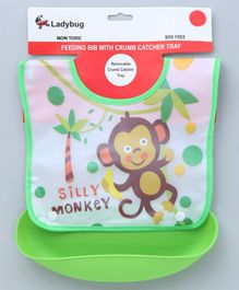 Ladybug Bib With Detachable Crumb Catcher Monkey Print - Green