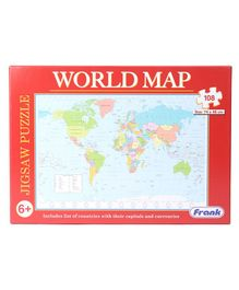 Frank World Jigsaw Map Multicolour Puzzle- 108 Pieces