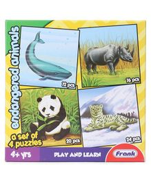 Frank Endangered Animals Jigsaw Puzzle Multicolour Set of 4 - 72 Pieces