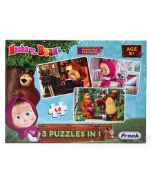 Frank Masha And The Bear 3 in 1 Jigsaw Puzzle Multicolour Set of 3 - 48 Pieces