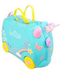 Trunki Una The Unicorn Kids Ride-On Suitcase and Carry-On Luggage With Glittery Stickers - Blue