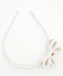 Viaana Bow With Beads Detail Hair Band  - White