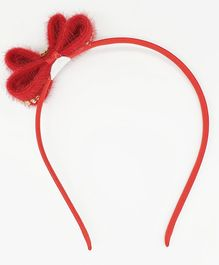 Viaana Bow With Beads Detail Hair Band - Red