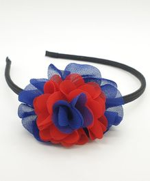 Viaana Flower Hair Band - Dark Blue & Red