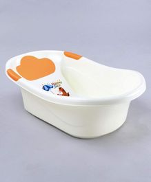 Baby Bath Tub With In-built Bather (Print May Vary) - White Orange
