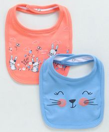 Babyoye Cotton Bibs Multi Print Pack Of 2 - Blue Orange