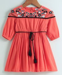 Babyoye Full Sleeves Floral Embroidered Frock - Coral