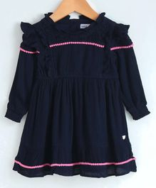 Babyoye Full Sleeves Solid Colour Frock - Navy Blue