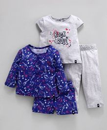 Babyoye Cotton Short & Full Sleeves Multi Print Night Wear Pack of 4 - Navy Grey