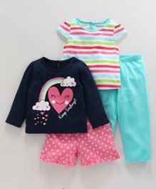 Babyoye Half & Full Sleeves Night Wear Heart Print Pack of 4 - Pink Blue