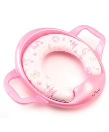 1st Step Cushioned Potty Seat With Handle Castle Print - Pink