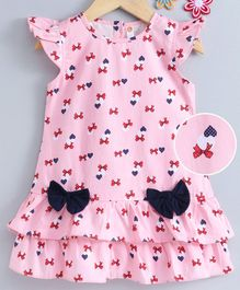 Dew Drops Flutter Sleeves Frock Bow & Hearts Print - Pink