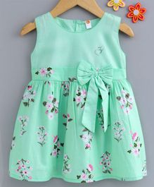 Dew Drops Sleeveless Frock Floral Print - Green