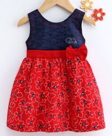 Dew Drops Sleeveless Floral Poplin Frock Bow Applique - Red Navy Blue