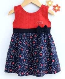 Dew Drops Sleeveless Floral Poplin Frock Bow Applique - Navy Blue Red